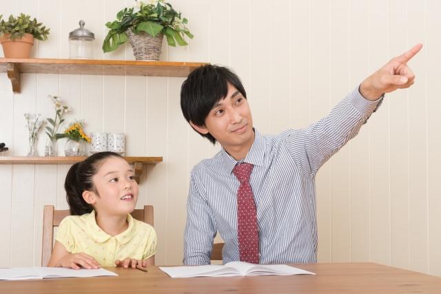 指さしをしながら指導する家庭教師と勉強する少女